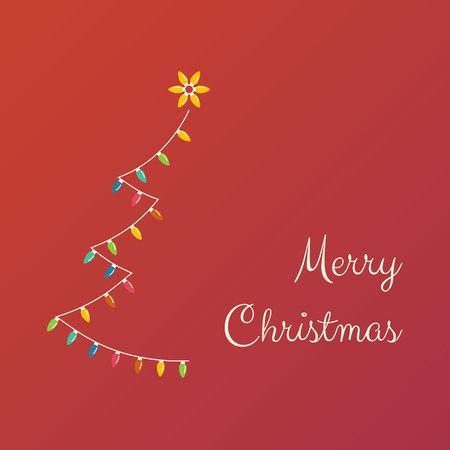 Kerstboom gemaakt van kleurrijke gloeilampen