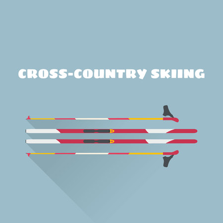 Cross-country skiing flat vector illustration. Cross-country equipment vector illustration. Illustration
