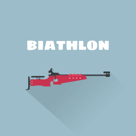 Biathlon flat vector illustration. Biathlon rifle vector illustration. Winter sport. Illustration