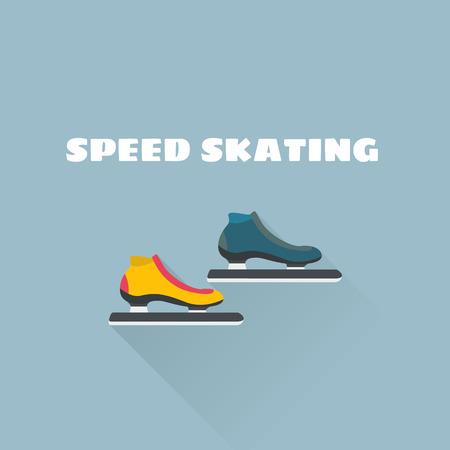 Snelheid schaatsen platte vectorillustratie. Vector illustratie. Wintersport.