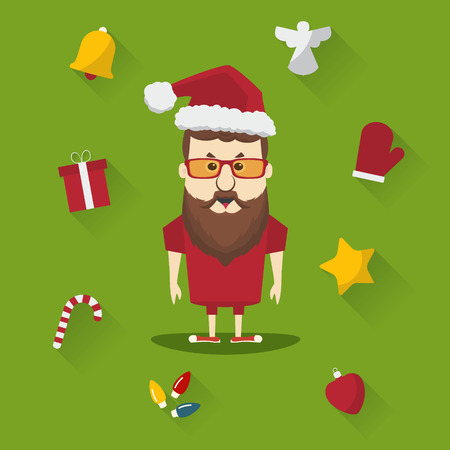 Vector hipster santa claus with Christmas elements. Merry Christmas card illustration.