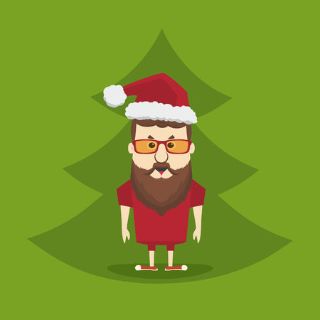 Vector hipster Santa Claus man with Christmas tree. Merry Christmas card illustration.