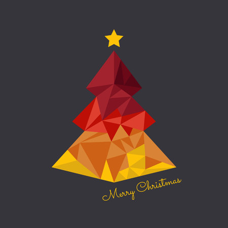 Abstract vector christmas tree triangle card design template. Christmas tree greeting card background. Illustration