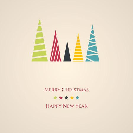 Kerstkaart met minimale kerstbomen. Vrolijk kerstfeest en een gelukkig nieuwjaarskaart. Stock Illustratie