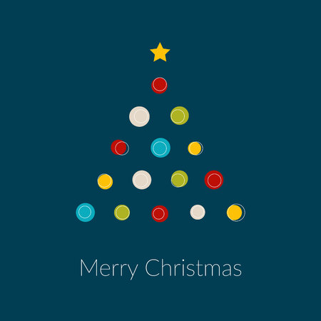 Vector minimal Christmas tree with dots and star Illustration