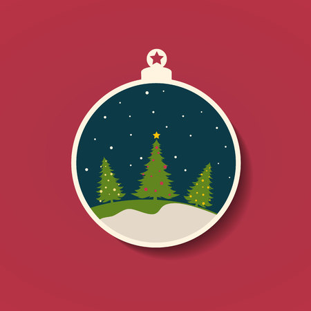 Christmas sphere with three Christmas trees and falling snow. Vector illustration.