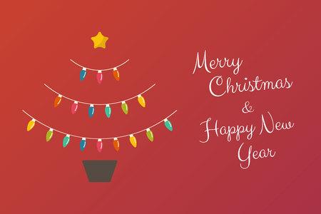 De abstracte boom van Kerstmis met bloempot die van bollenlichten wordt gemaakt. Vector illustratie. Vrolijk kerstfeest.