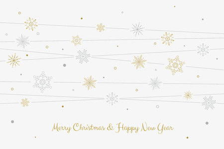 Lines with snowflakes and dots. Merry Christmas theme. Vector illustration. Illustration