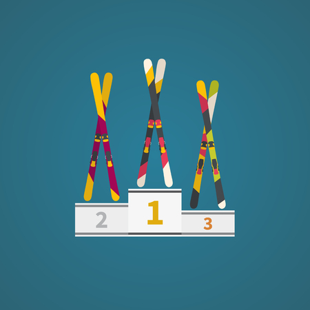 Winner podium with winter skis. Vector illustration. Winter games.