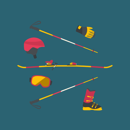Ski equipment set. Skier travel set. Flat design winter sport concept.