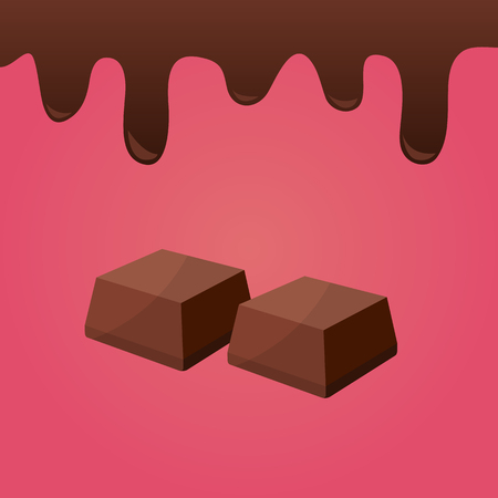 Chocolate pieces with chocolate splash. Vector illustration.