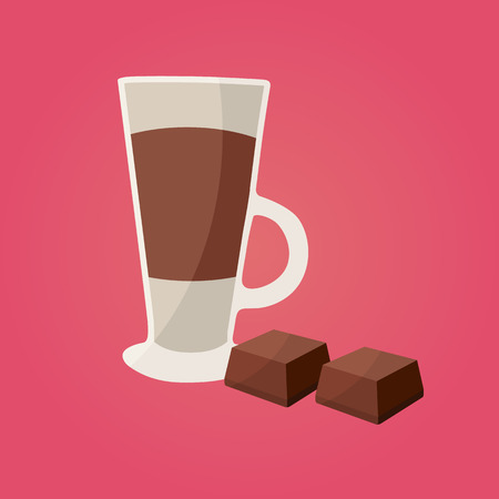 Hot chocolate with chocolate pieces. Vector illustration.