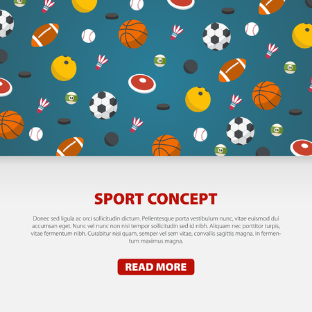 Creative sport games concept. Sports balls and equipment. Flat Style Vector Illustration. Illustration