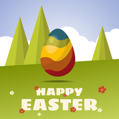 Happy Easter card. Color Easter egg. Flat design. Egg hunt for children template layout.  Illustration