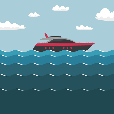 Ship on the sea. Simple vector illustration. Illustration