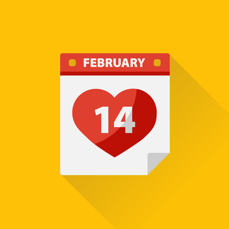 Valentines Day calendar with heart.