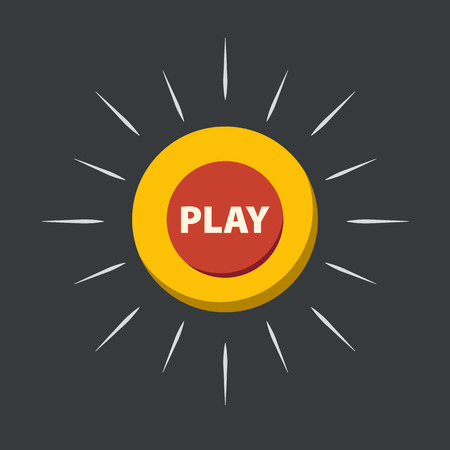 Vector play button in flat design. Circle button.