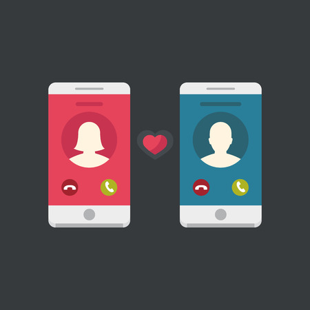 Communications concept flat design. Couple in love, love conversation two smartphones.