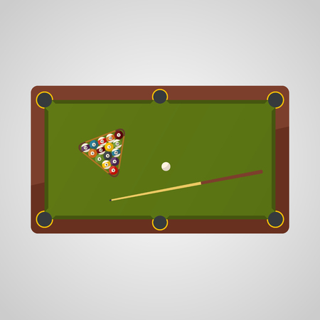 Top view of billiard table. Billiard balls and cue, billiard game sport. Illustration