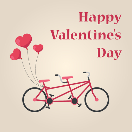 Romantic tandem bicycle with balloons. Happy Valentines Day.