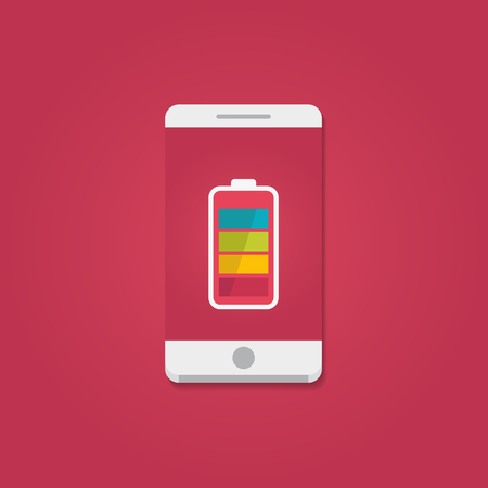 Smartphone with full battery on the screen. Flat vector illustration.