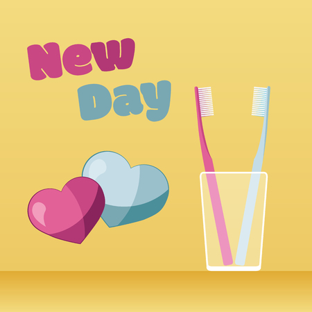 Toothbrush in transparent glass. New Day concept with hearts. Flat design.