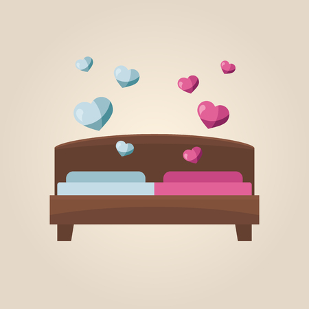 Bed with pink and blue sides and hearts. Flat style Vector illustration.
