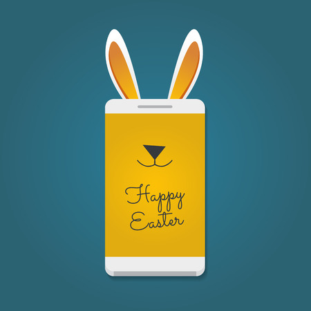 Happy Easter message. Smartphone with bunny ears Illustration