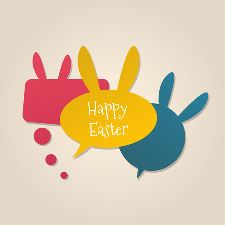 Happy Easter speech bubbles with bunny ears. Social media concept. Illustration