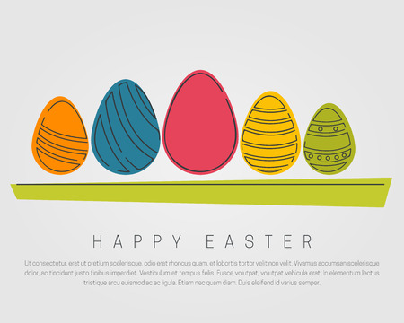 Easter egg collection in line style. Happy Easter concept.