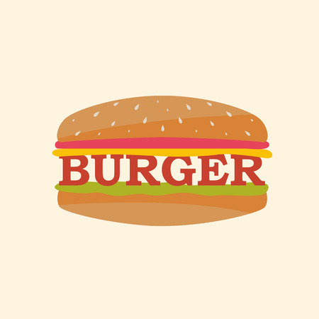 Vector juicy hamburger. Burger illustration.