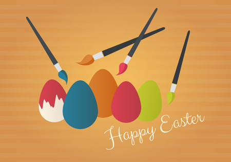 Happy Easter card. Painting brush with colourful eggs.