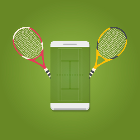 Smartphone with tennis field on screen and rackets. Tennis concept. Vector illustration. Illustration