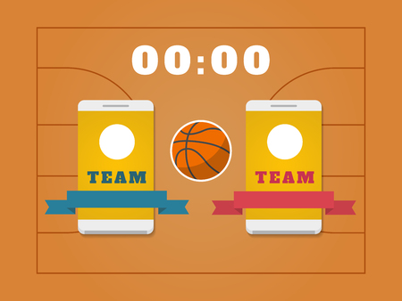 Basketball field, ball, scoreboard and smartphone with teams. Basketball online concept. Vector illustration. Illustration