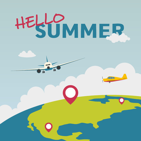 Hello summer illustration with airplane and the globe. Summer vacation. Concept website template. Vector illustration. 
