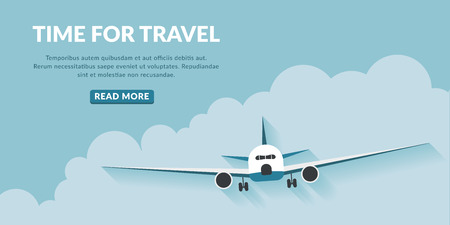 Time to travel with airplane and cloud. Travel concept background with button. Illustration