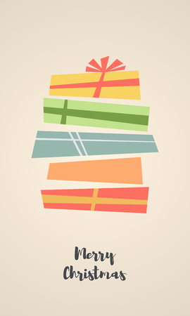 Holiday Christmas background with a gift boxes. Vector Illustration.  Flat style vector concept. Illustration