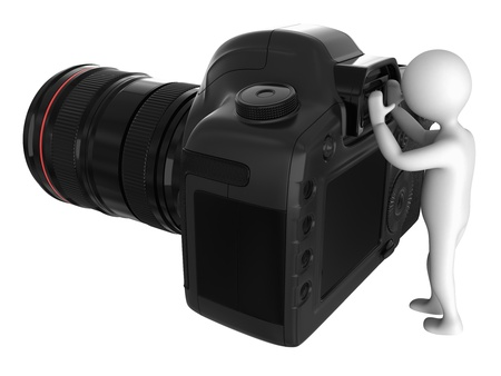 Cg camera and character isolated on white background