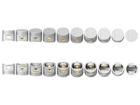 cg rotary pistons isolated on a white background