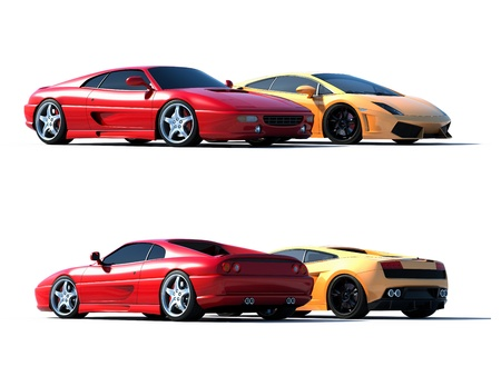 exotic car: Cg cars isolated on a white background Stock Photo