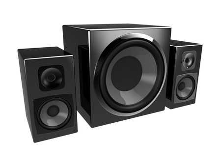multimedia speakers isolated on a white background Stock Photo