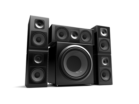sub woofer: multimedia speakers isolated on a white background Stock Photo