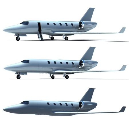 private jet: jet plane isolated on a white background Stock Photo