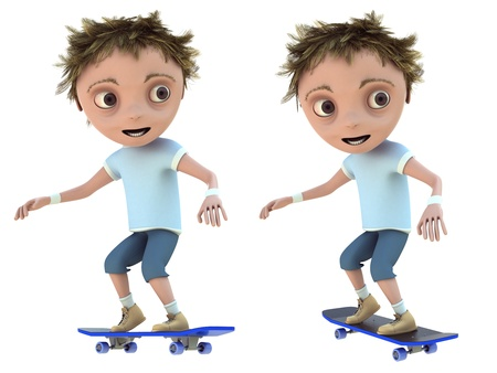 sport cartoon: cg kid on skateboard isolated on a white background