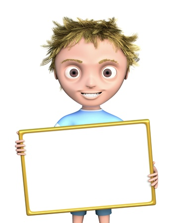 Cg boy with blank sign isolated on white Stock Photo
