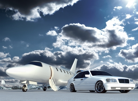 corporate jet: cg plane and car