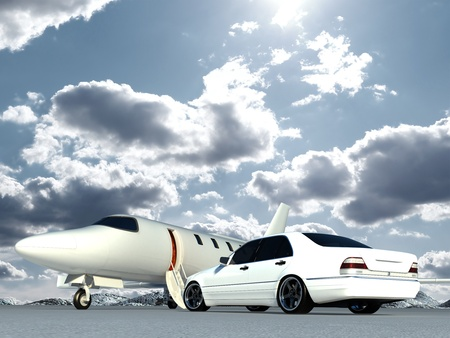 cg plane and car Stock Photo