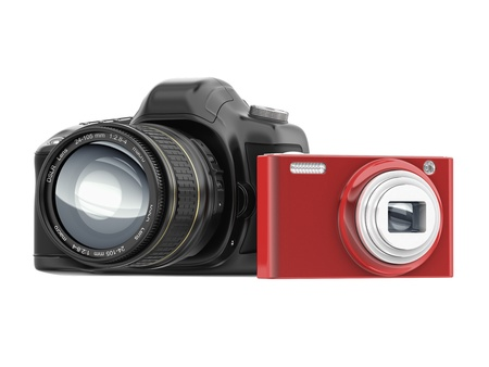 cg slr and compact camera isolated on white