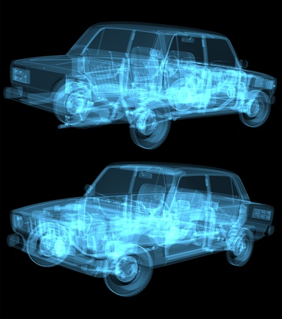 car detail: cg x ray car isolated on black Stock Photo