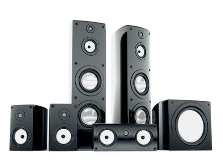 speaker box: Cg audio speakers isolated on white background